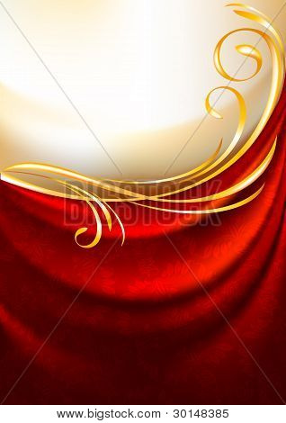 Red fabric drapes with ornament, background, Eps10