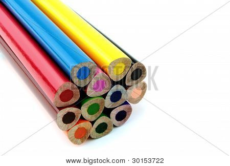 Unsharpened color pencils