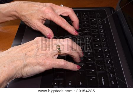 Senior Citizen Hands On Keyboard