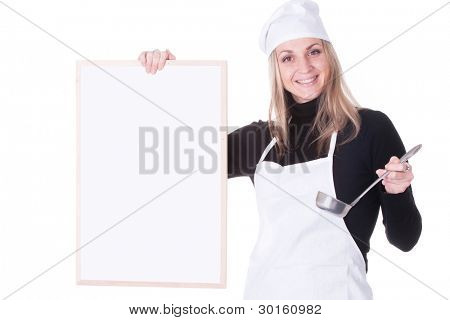 The image of cook under the white background. He shows to menu