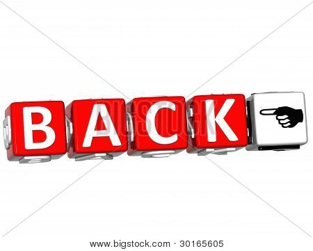 3D Back Block Text On White Background