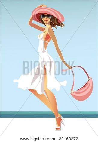 vector image of the woman in a white dress