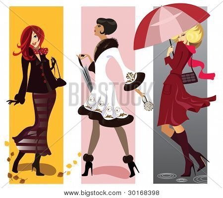 illustration of thre fashionable girls
