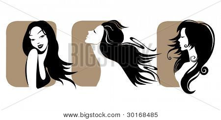 vector set of closeup  portrait women with long hair