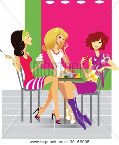 three girls in cafe