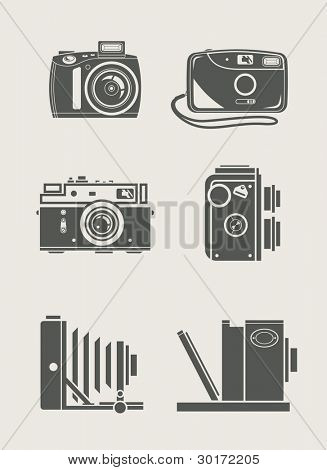 photocamera retro e novos ícones set vector illustration