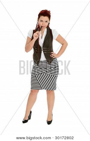 Girl With Pen Isolated On White Background