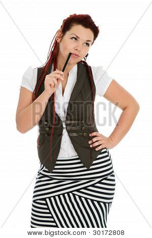 Beautiful Red-haired Girl Isolated On White Background