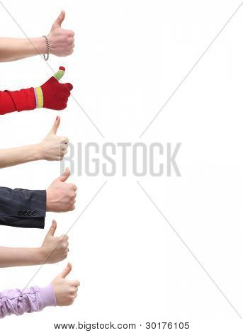 "Hands thump up, ""Like"" sign, isolated on white background"
