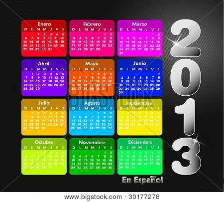 Colorful calendar 2013 in spanish. Week starts on sunday.