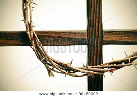 representation of the crown of thorns and the cross of Jesus Christ