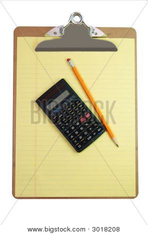 Clipboard, Calculator, Pencil, And Paper