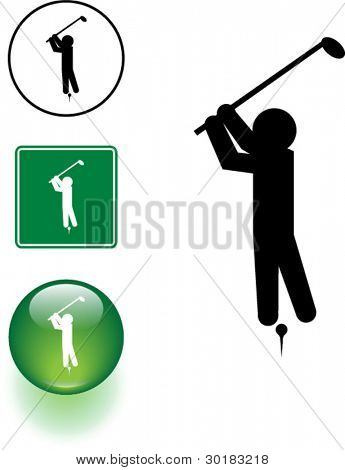playing golf symbol sign and button