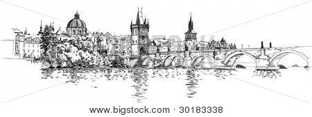 Panorama of Prague. View of Charles Bridge and the Vltava river embankment. Bitmap copy my vector drawing