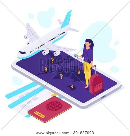 poster of Isometric Airplane Travel. Traveler Suitcase, Airplane Travels And Traveling 3d Vector Illustration
