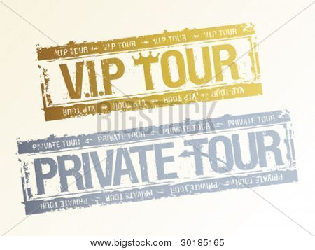 Private VIP tours rubber stamps.