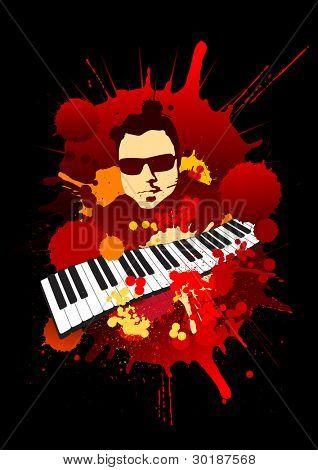 grunge musician portrait with keyboard