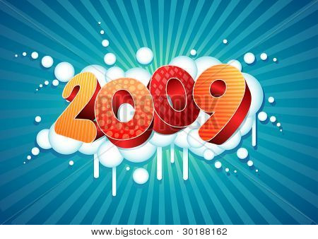 2009 new year composition. All elements are layered separately in vector file.