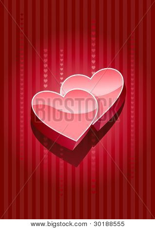 Vector 3d heart on red background. All elements layered separately in vector file.