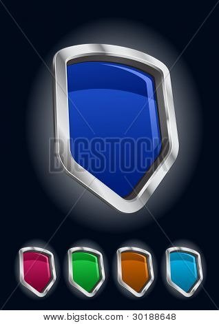 vector metal frame shields icon set. Easy editable.