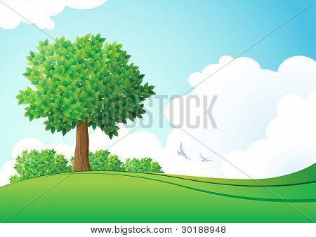 Green landscape. Vector illustration. Elements are layered separately in vector file.