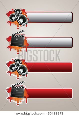 Entertainment Banner Set 2. Elements are layered separately in vector file. Easy editable graphics.
