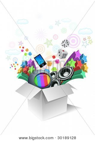 Gift box surprise - entertainment. All elements are layered separately in vector file.