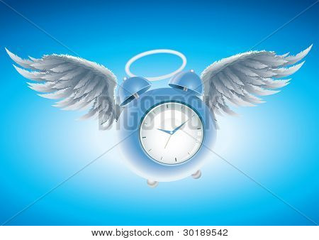 Winged clock vector illustration. CMYK color mode. Elements are layered separately in vector file.