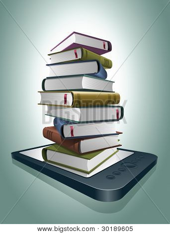 Stack of books on e-reader. Vector illustration. All elements are layered separately in vector file.