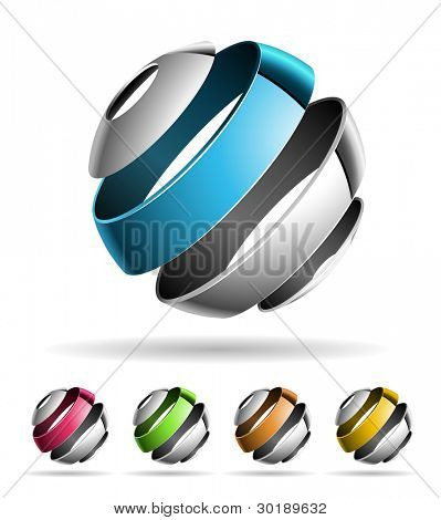 3d abstract vector design element set.