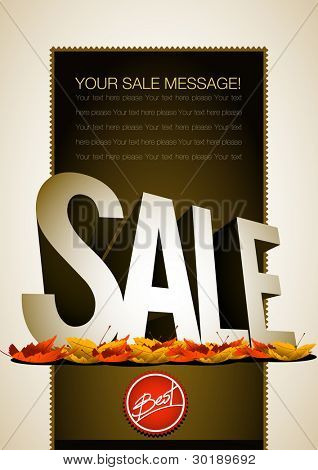 Vector autumn sale poster or flyer template. All elements are layered separately in vector file. Easy editable.