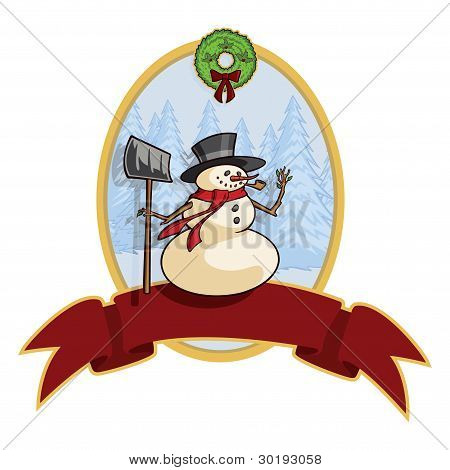Vector Snowman Holiday Banner