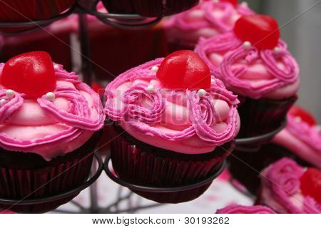Pink Frosted Chocolate Cupcakes