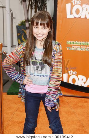 LOS ANGELES, CA - FEB 19: Mackenzie Aladjem at the 'Dr. Suess' The Lorax' premiere at Universal Studios Hollywood on February 19, 2012 in Los Angeles, California