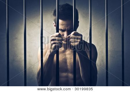 Young man in prison