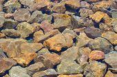 Colorful Rocks Covered By Clear, Still Water With A Few Ripples.  Background.  Sunny Water Ripples O poster
