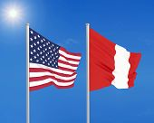 United States Of America Vs Peru. Thick Colored Silky Flags Of America And Peru. 3d Illustration On  poster
