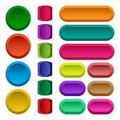 Colorful Set Of Square, Round And Rectangular Rounded Button. Vector Illustration poster