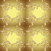Traditional Orient Ornament. Seamless Classic Vector Golden Pattern. Classic Vintage Background. Gol poster