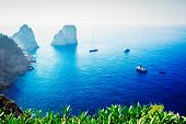Famous Faraglioni Cliffs And Tyrrhenian Sea Blue Water, Famous Capri Island, Italy, Retro Toned poster