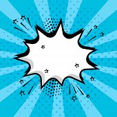 White Empty Speech Comic Bubble With Stars And Dots On Blue Background. Comic Sound Effects In Pop A poster