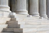 Architectural Detail Of Marble Steps And Ionic Order Columns poster