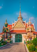 Front entrance of the Ordination Hall. Beautiful view of War Arun a Buddhist temple in Bangkok Yai  poster
