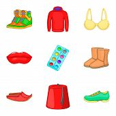Decor Clothes Icons Set. Cartoon Set Of 9 Decor Clothes Icons For Web Isolated On White Background poster