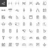 Healthy Lifestyle Line Icons Set. Sport Equipment Linear Style Symbols Collection, Outline Signs Pac poster