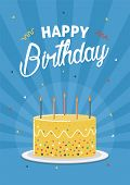 Birthday Greeting And Invitation Card With Birthday Cake Illustration. poster