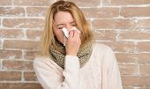 Sneezing Non Stop. Pretty Girl Sneezing Of Seasonal Influenza Virus. Cute Woman Caught Nasal Cold Or poster