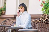 Call Friend. Girl Fashionable Lady With Smartphone. Leisure Concept. Woman Attractive Elegant Brunet poster