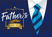 Happy Father`s Day Golden Lettering Banner. Fathers Day Vector Calligraphy On Navy Blue Suit Backgro poster