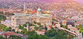 Budapest, Hungary. Beautiful Aerial View Of Historic Buda Castle Royal Palace And South Rondella At  poster